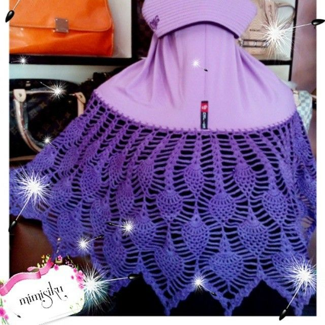 Jilbab bergo with pineapple crochet