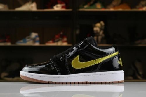 Mens and Womens Air Jordan 1 Low Patent Leather Black Gold White Gum ... 48bd5869fe