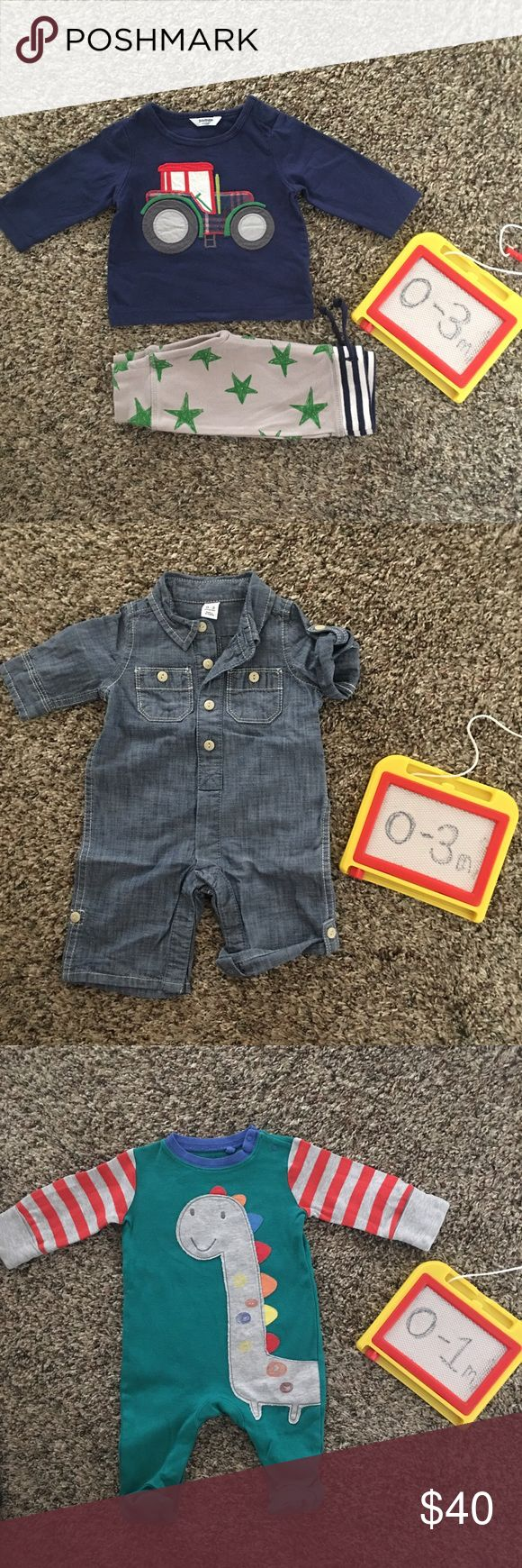 Baby BOY Bundle 0-3mo Gap Boden Next Direct UK All pieces are in great shape! First set is Baby Boden, second denim romper is baby Gap and the sleeper is next direct from UK. All are in great shape only worn a few times. Baby Boden Matching Sets