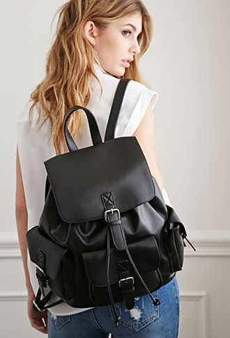 very cool #vegan Faux Leather Buckled Backpack from forever 21. They have it in white and brown too.