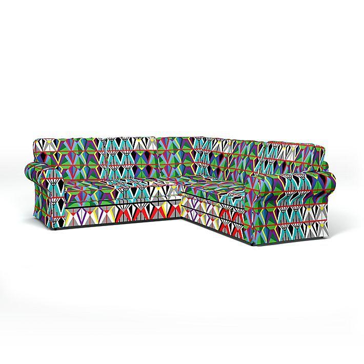 Ektorp, Sofa Covers, Corner sofa, Regular Fit using the fabric Comedin går Multi