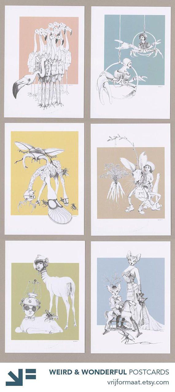 Set van 6 ansichtkaarten, serie Weird & Wonderful, met bizarre, bijzondere, surrealistische pentekeningen. Dieren en mensen in wonderlijke combinaties. Flamingos in schooluniform, herten uit de ruimte, een sprinkhaas die dol is op wortelen, familieportret van haarloze katten, krabben in het circus en een giraffe die geplaagd wordt door torren en kevers ...  De set bevat de volgende 6 kaarten:  - Flamingo Boys - Crab Circus - Space Deer - Bald & Beautiful (met sfinx katten) - Harehoppe...