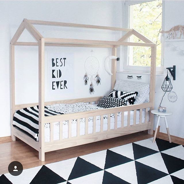 Lovely boys room - boys bedroom ideas and inspiration - wooden bed, monochrome theme,