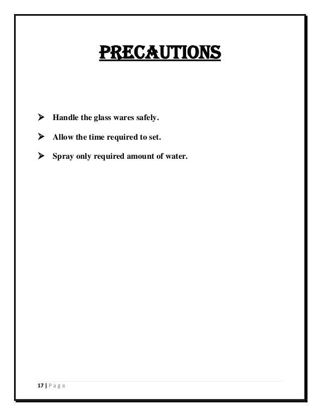 17 P A G E Precautions Handle The Glass Wares Safely