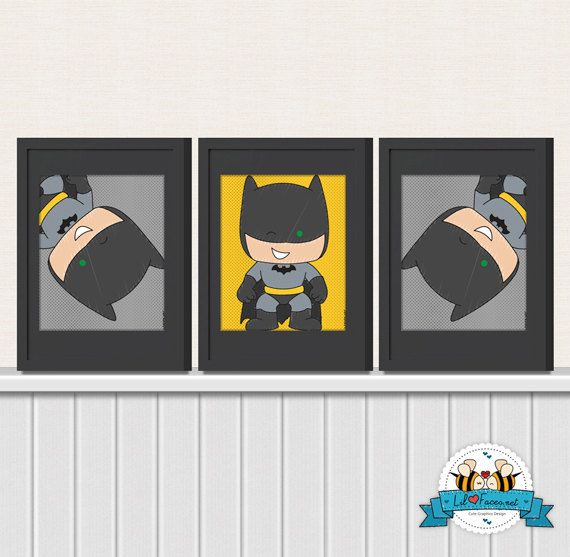Cute Batman Wall Art Printable 8x10 Poster- Digital Wall Art - Printable Art - Nursery Art - Kids Art - Superhero via Etsy