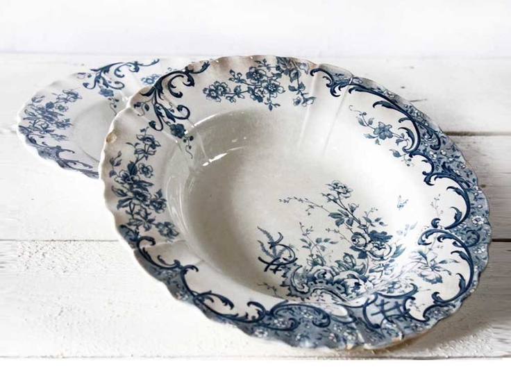 Set of 2 soup plates SHABBY but CHIC French soup Plates  Fleury   Sarreguemines  sc 1 st  Pinterest & 25+ best Shabby Chic Plates/Dinnerware images on Pinterest | Shabby ...