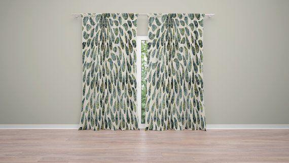 Light Green Raindrop Pattern Window Curtains 50 X 84 Curtain