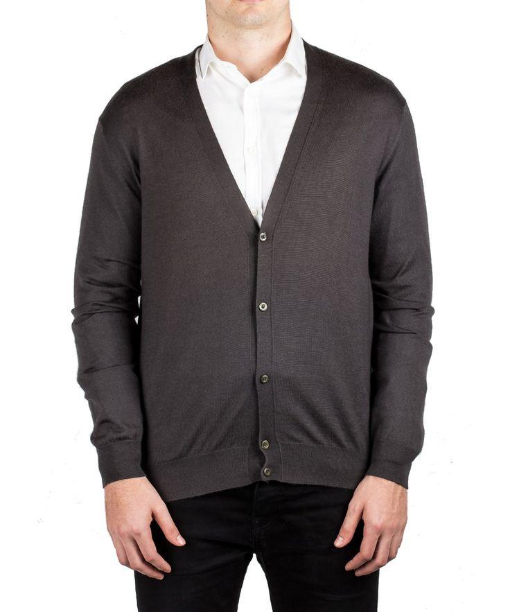 PRADA Prada Men'S Cashmere Silk Cardigan Button Sweater Dark Grey'. #prada #cloth #sweaters