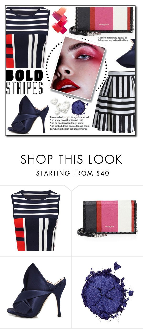 """""""Bold stripes"""" by bellissabeauty ❤ liked on Polyvore featuring Balenciaga, N°21 and Pat McGrath"""