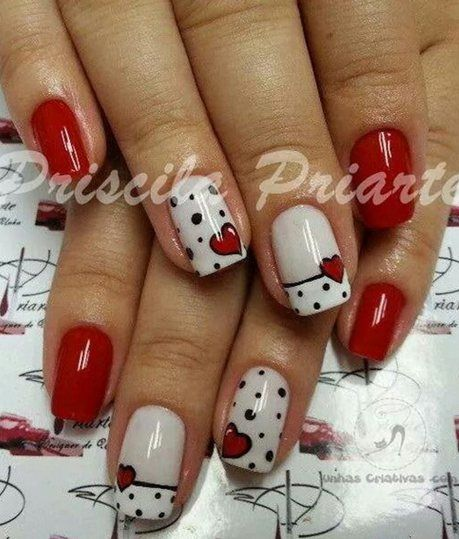 #Valentines Red and White #nails #nailart