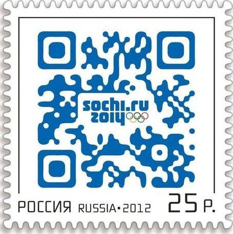 """ロシア初のQRコード切手〜ロシアの郵便事業 """"ロシアのポストは""""ソチで二十二回オリンピック冬季競技大会(開催都市)用QRコードスタンプを発行しています。"""