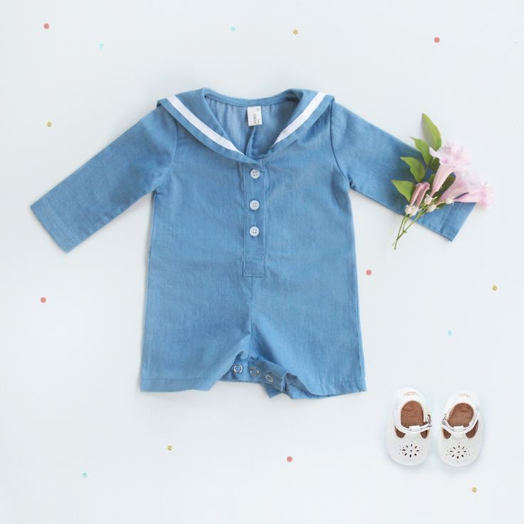 Sailor style baby blue romper