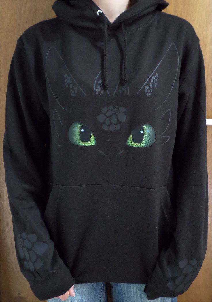 "Fan of How to train your dragon? Want a Night Fury? I know I do. Toothless, he's like a giant flying cat. (Missing the fur of course) but until they manage to genetically engineer domesticated dragons for pets I guess I'll just have to settle for my Toothless hoodie. Printed in black vinyl onto black fabric, I even added a few scales just above the cuffs on the sleeves. :) Size Chest (to fit) S - 36"", M - 40"", L - 44"", XL - 48"", 2XL - 52"" This Hoodie is WRAP (Worldwide Responsible Apparel…"