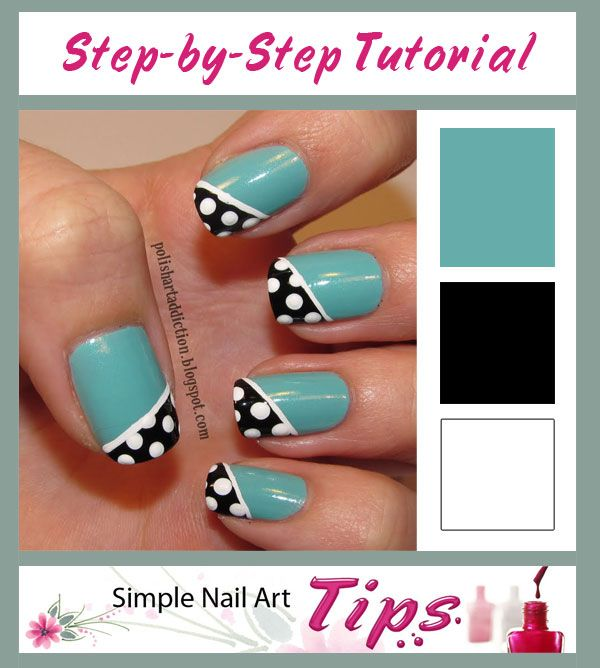 TUTORIAL: Simple Nail Art Tips: Dotted Black Diagonal French on Turquoise Nail Art #nails #nailart #manicure