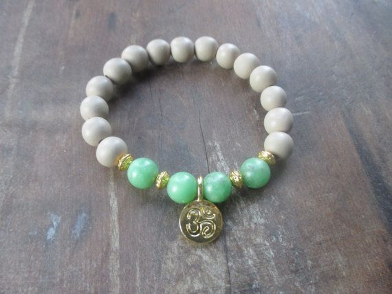 Jade and wood bead bracelet by StayingGrounded on Etsy