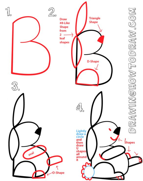 Drawing a Bunny Rabbit from a Capital Letter B Shape