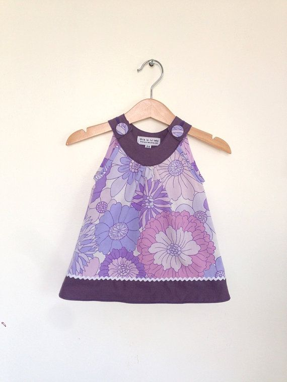Baby dress, purple and lilac vintage florals (made to order)    + This adorable handmade dress is sewn from vintage fabric, so each creation is