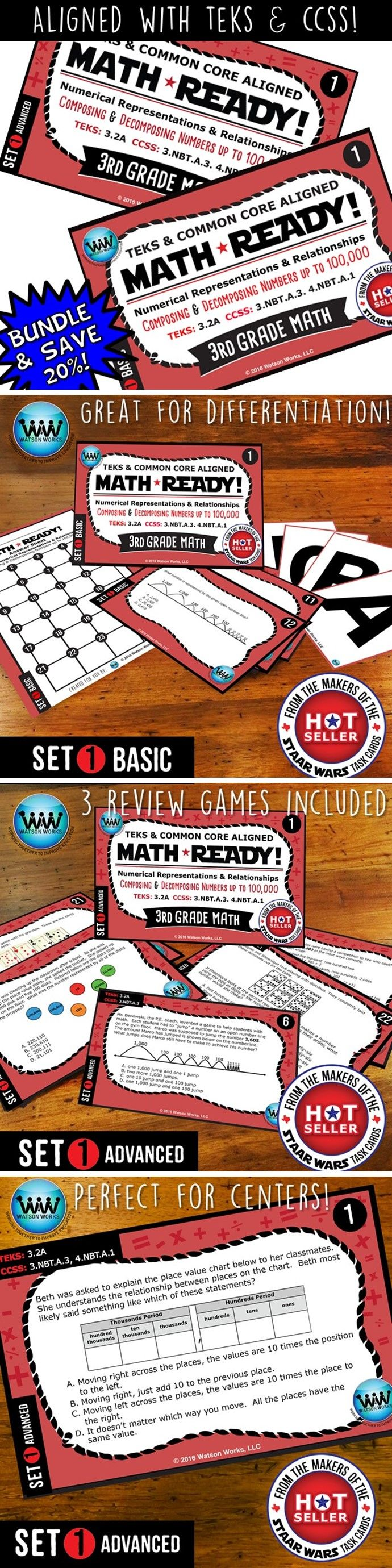 SAVE 20% WHEN YOU PURCHASE THIS BUNDLE (includes both our Basic & Advanced MATH READY Composing & Decomposing Numbers up to 100,000 Task Cards sets)! Both sets include 24 task cards w/ multiple choice answers. The BASIC set helps your students practice & apply their understanding of place value at a simpler, basic level with shorter questions, while the ADVANCED set features rigorous, higher-level thinking questions w/ longer word problems, making them great for differentiation! $5.60