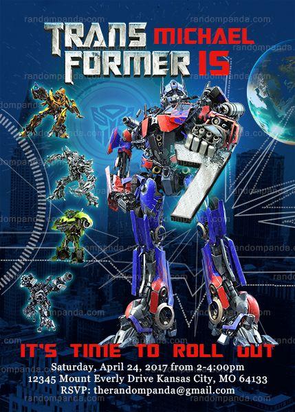 Transformers Invitation Optimus Prime Birthday Party Invite