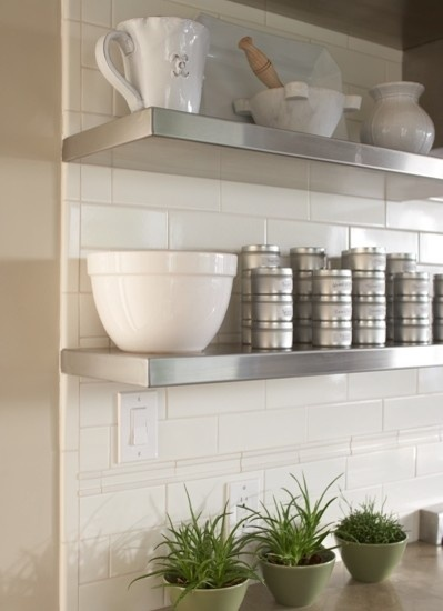 Kitchen Stainless Steel Shelves Design, Pictures, Remodel, Decor and Ideas