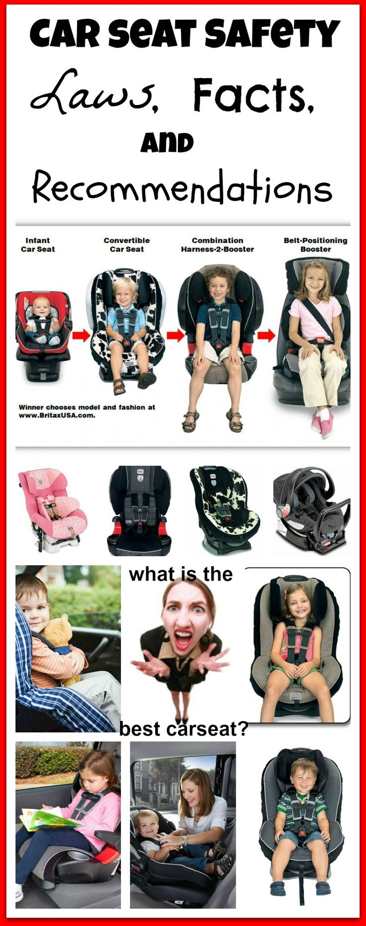 Car Seat Laws, Facts, and Recommendations! Which car seat is the best? Should my child still be in a 5 point harness? Am I putting my child at risk every time we drive? Am I violating car seat laws? Am I practicing proper car seat safety?