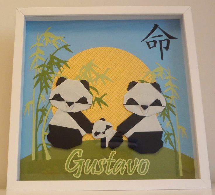 Quadro Família Panda Origami - porta maternidade