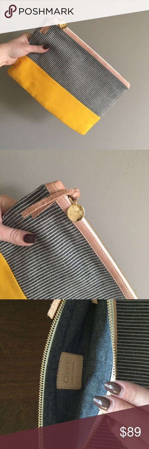 Clare Vivier Flat Clutch - Like New! 💛💙 Rarely used Clare V Clutch. No blemishes, in amazing condition. Clare Vivier Bags Clutches & Wristlets