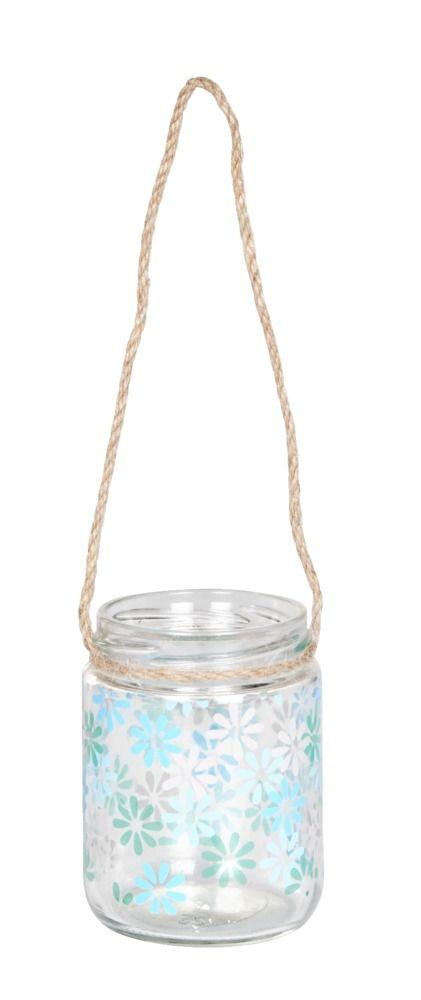 Windlicht Babs: deze glazen windlichtjes staan niet alleen buiten superleuk, maar ook binnen. Met het touw kun je de lichtjes ook nog ophangen aan een balk of boom.