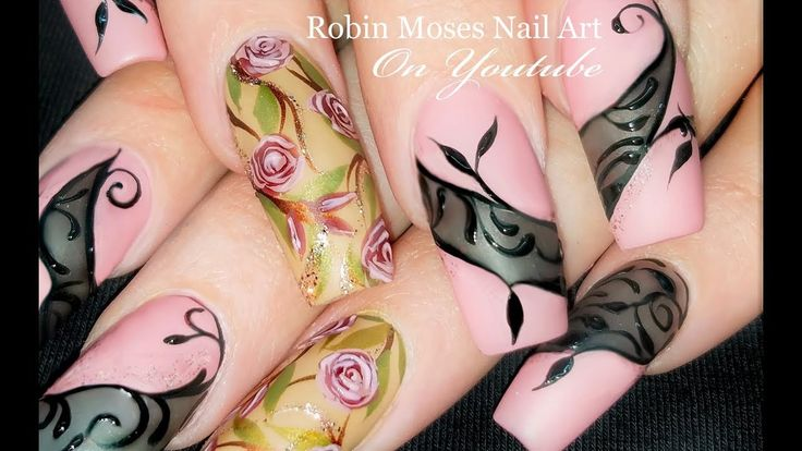"Please share this picture! In the diva nail playlist! Search ""Robin Moses Roses"" on youtube to find dozens of rose tutorials. Search ""Robin Moses Lace"" and find dozens of tutorials! Mix and match this design using different tutorials and techniques for pennies! Please share this with struggling nail techs or artistic people you would like to see learn or just pass it on to help share the Joy in our sisterhood and promote fun careers for women. Get my brushes worldwide at…"