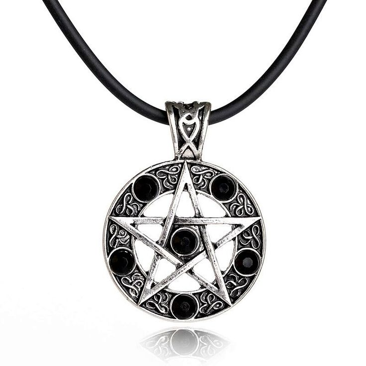 Pendant Silver Pentagram Stone L4cm b2AyWI