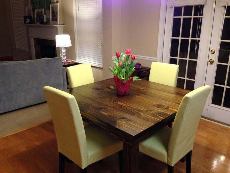 James+James Square Farmhouse Style Table With A Traditional Top Stained In  Dark Walnut With A Satin Finish.