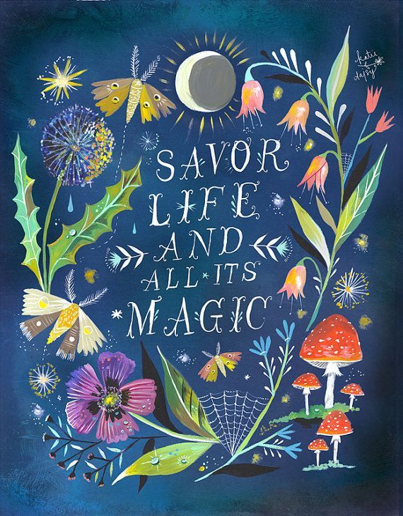 Night Magic Art Print  | Watercolor Quote | Inspirational<> Print | Lettering | Garden Wall Art | Katie Daisy | 8x10 | 11x14