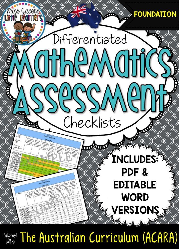 Mathematics Assessment Checklists Australian Curriculum