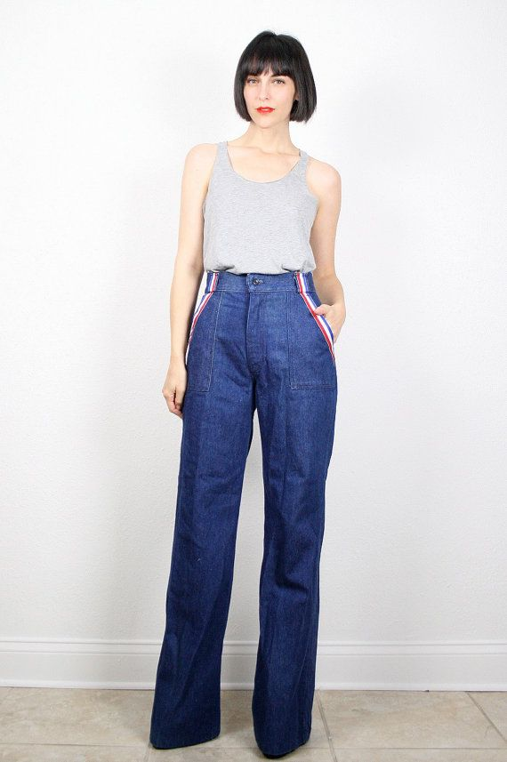 Vintage High Waisted Jeans 1970s 70s Hippie Jeans Bell