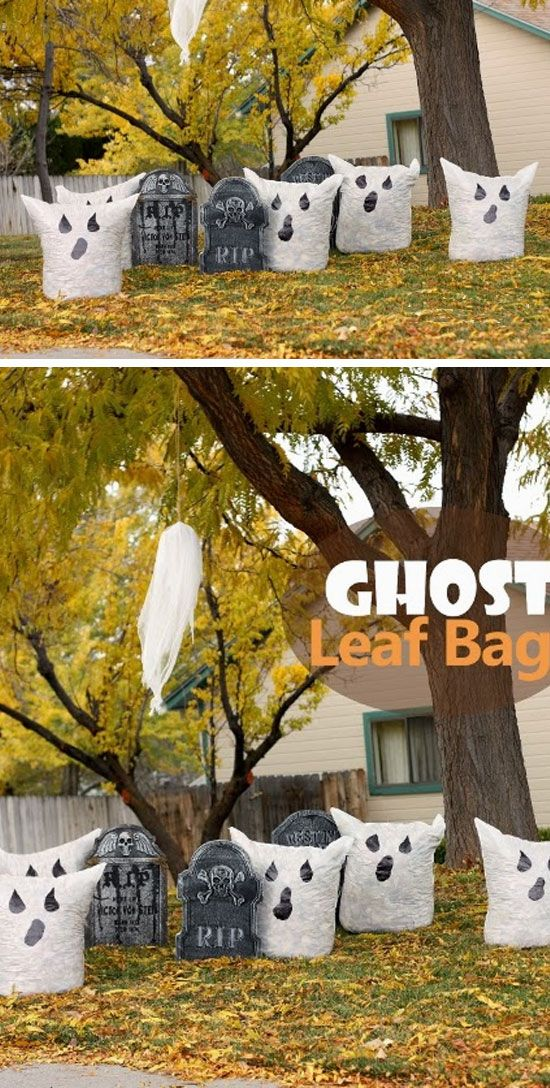 ghost leaf bags click pic for 21 easy diy outdoor. Black Bedroom Furniture Sets. Home Design Ideas