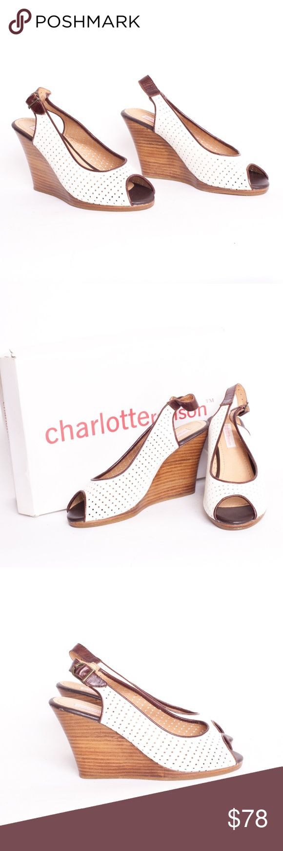 """Charlotte Ronson Drew Lewis Ivory Leather Wedge 8 Charlotte Ronson Drew Lewis Ivory Leather Wedge in Perforated Leather Size 8. Originally purchased from Urban Outfitters. The perfect Summer Peeptoe with slingback buckle. Ivory Leather upper. Rubber sole. 3.5"""" platform. Excellent pre-owned condition Charlotte Ronson Shoes Wedges"""