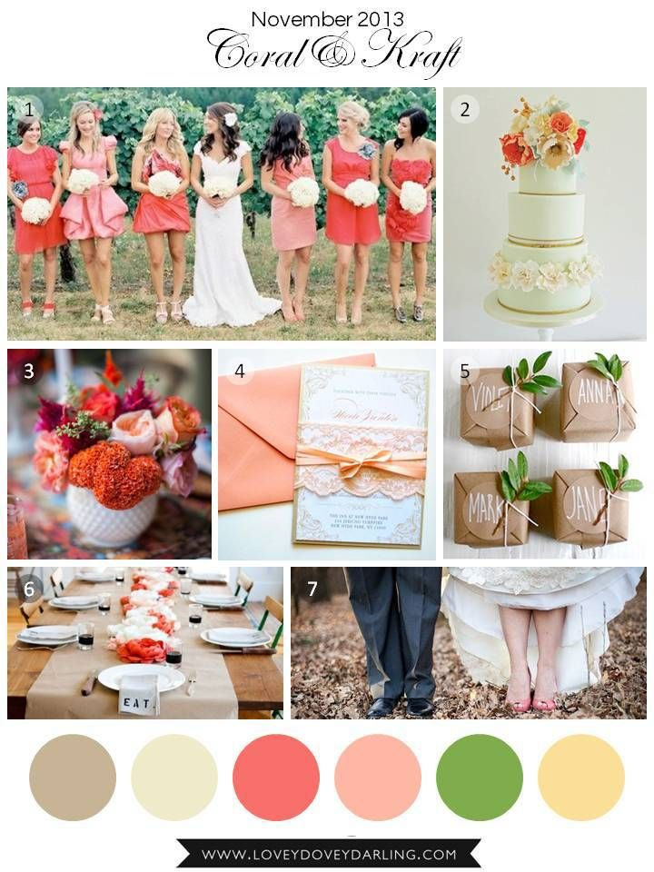 November Wedding Inspiration Board: Coral and Kraft | Lovey Dovey Darling