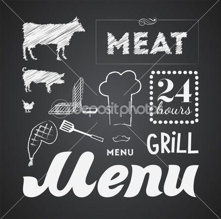 Иллюстрация Винтаж графический элемент для меню на доске — Стоковое векторное изображение © BSSR #22229495