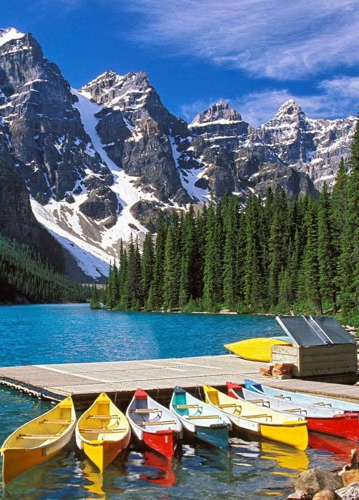 Colorful canoes on Moraine Lake