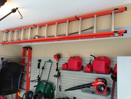 ladder storage garage pinterest shed organization. Black Bedroom Furniture Sets. Home Design Ideas