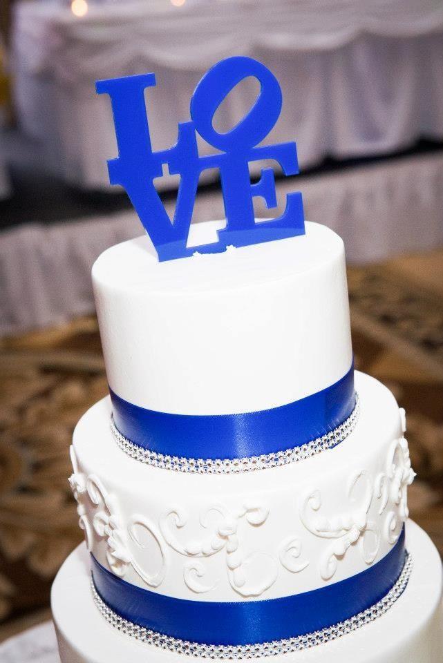 Wedding cake topper. Royal blue
