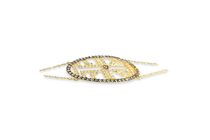 18 ct champagne & white diamond bracelet