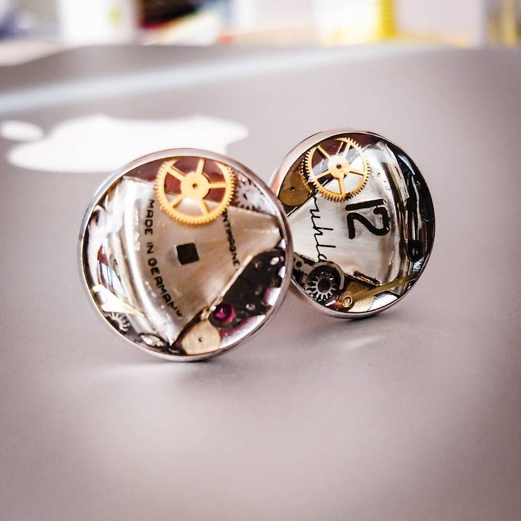 Cufflinks with parts of the watch movement :)
