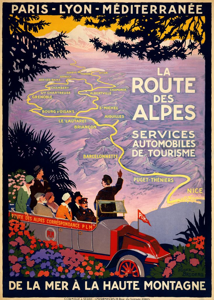 La route des Alpes, travel poster  by Roger Broders for PLM, ca. 1920