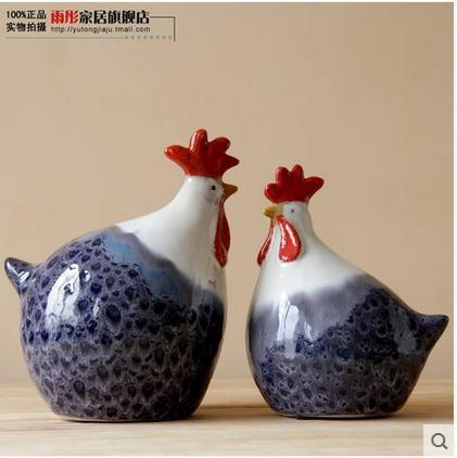 Hecho a mano grande de cerámica figurillas de pollo gallinas gallo ornamento artesanías de cerámica decoración del hogar decoración de la habitación de porcelana figurillas de animales(China (Mainland))