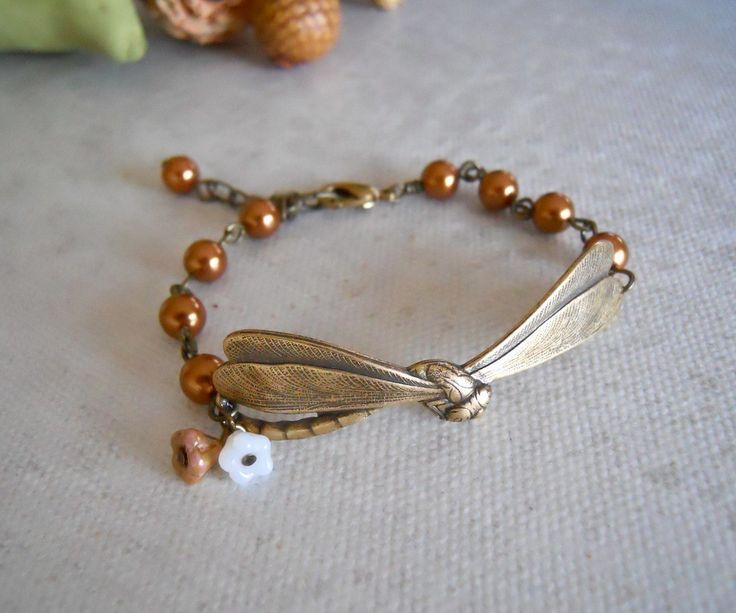 Vintage+Dragonfly+Bracelet+Copper+pearls+glass+by+BeadsStory,+$19.00