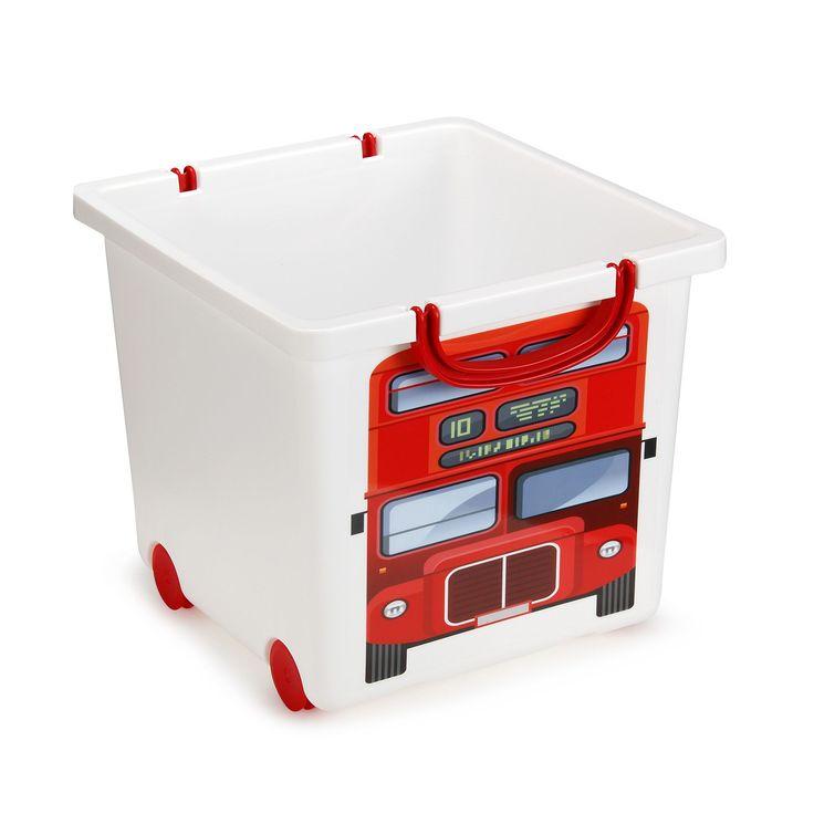 Bac de rangement 25L blanc motif bus anglais Blanc - Hobbit - Les rangements de chambre enfant - Les meubles pour chambre enfant - Univers des enfants - Décoration d'intérieur - Alinéa