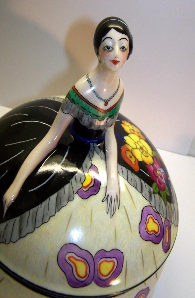 Noritake Art Deco Lustre Lady Figural Powder Box Dresser Jar Lusterware - [Trapani collection]