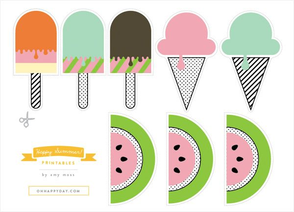 FREE SUMMER PRINTABLE that include watermelon's, posicles and ice cream cones. Great for labeling party items or to give as a gift.