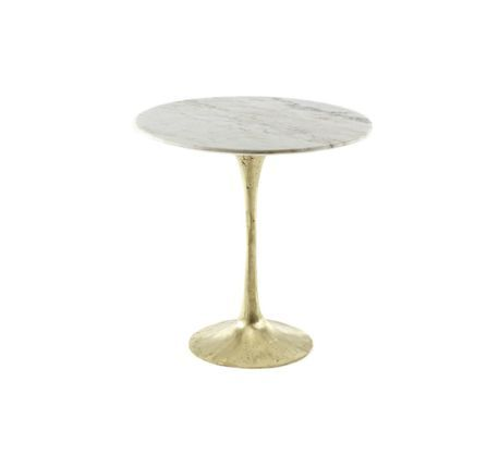Tulip style side table with marble top and bronze base